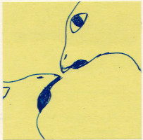 kiss, pen on post-it, carrie roseland